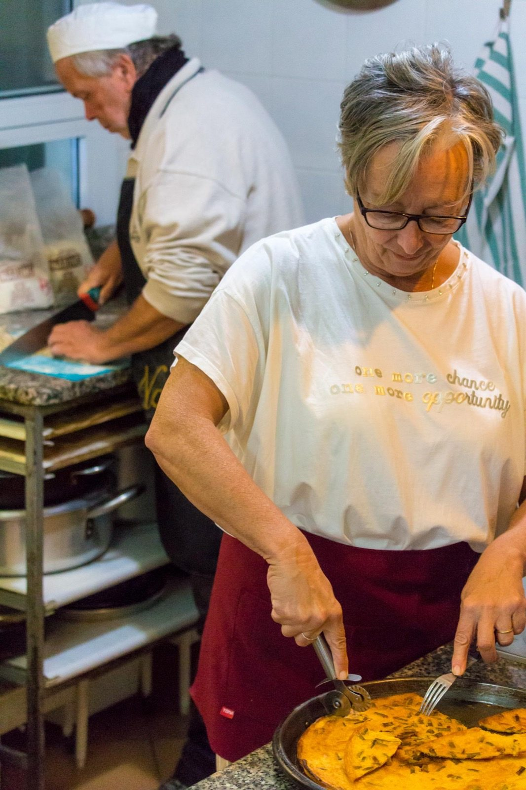 La titolare che cucina